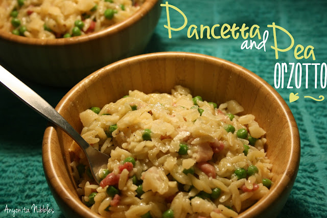 Two bowls of Pancetta and Pea Orzotto (orzo risotto)