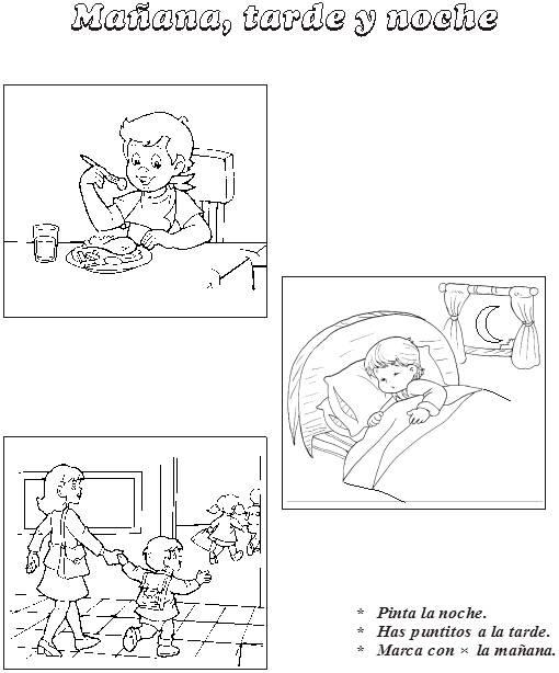 Dibujos Para Colorear De Actividades De Dia Y De Noche
