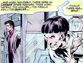Batman #255, Milo lurks evilly as Anthony Lupus enters his lab, art by Neal Adams