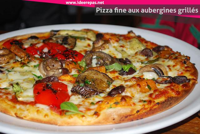 Pizza fine aux aubergines grillés