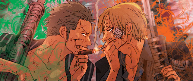 Zoro and Sanji Smoking