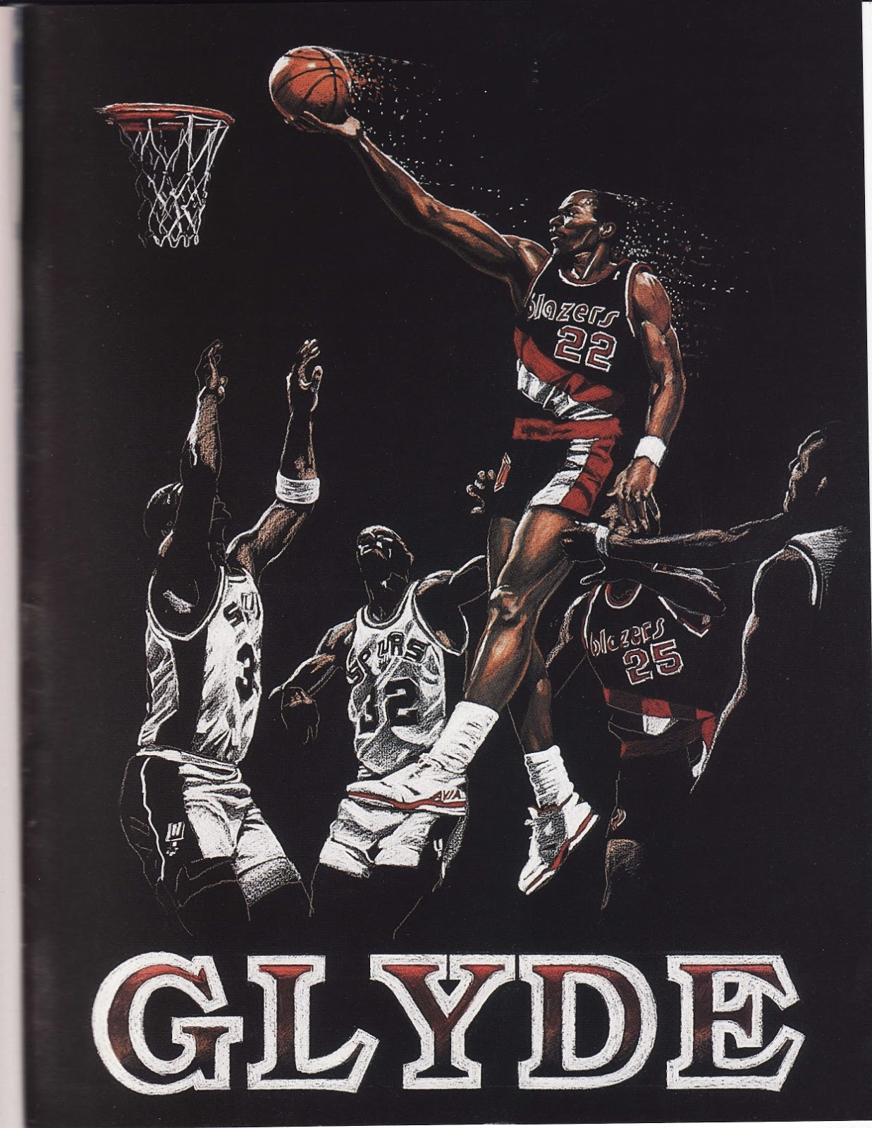 Clyde Drexler painting from Beckett Basketball Monthly