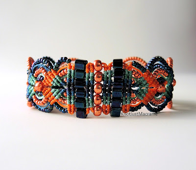 Micro macrame bracelet in orange and blue by Sherri Stokey.