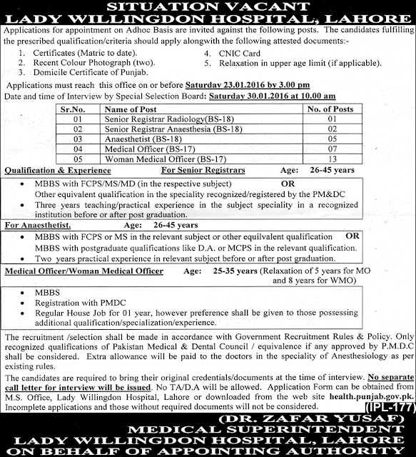 Doctors Jobs in Lady Willingdon Hospital Lahore MO & WMO