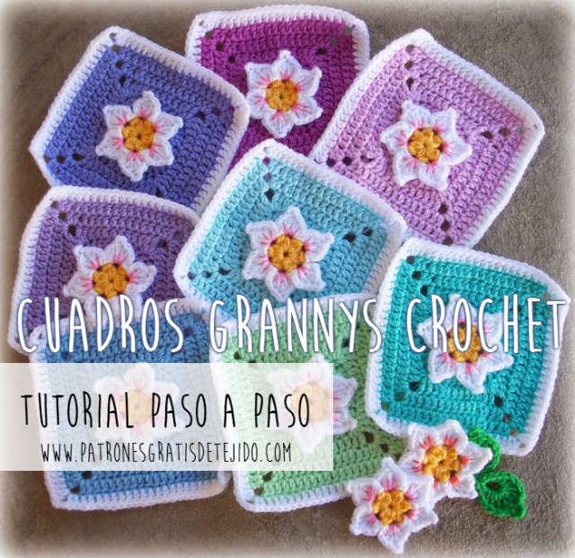 como tejer granny con flor narciso en relieve en el centro