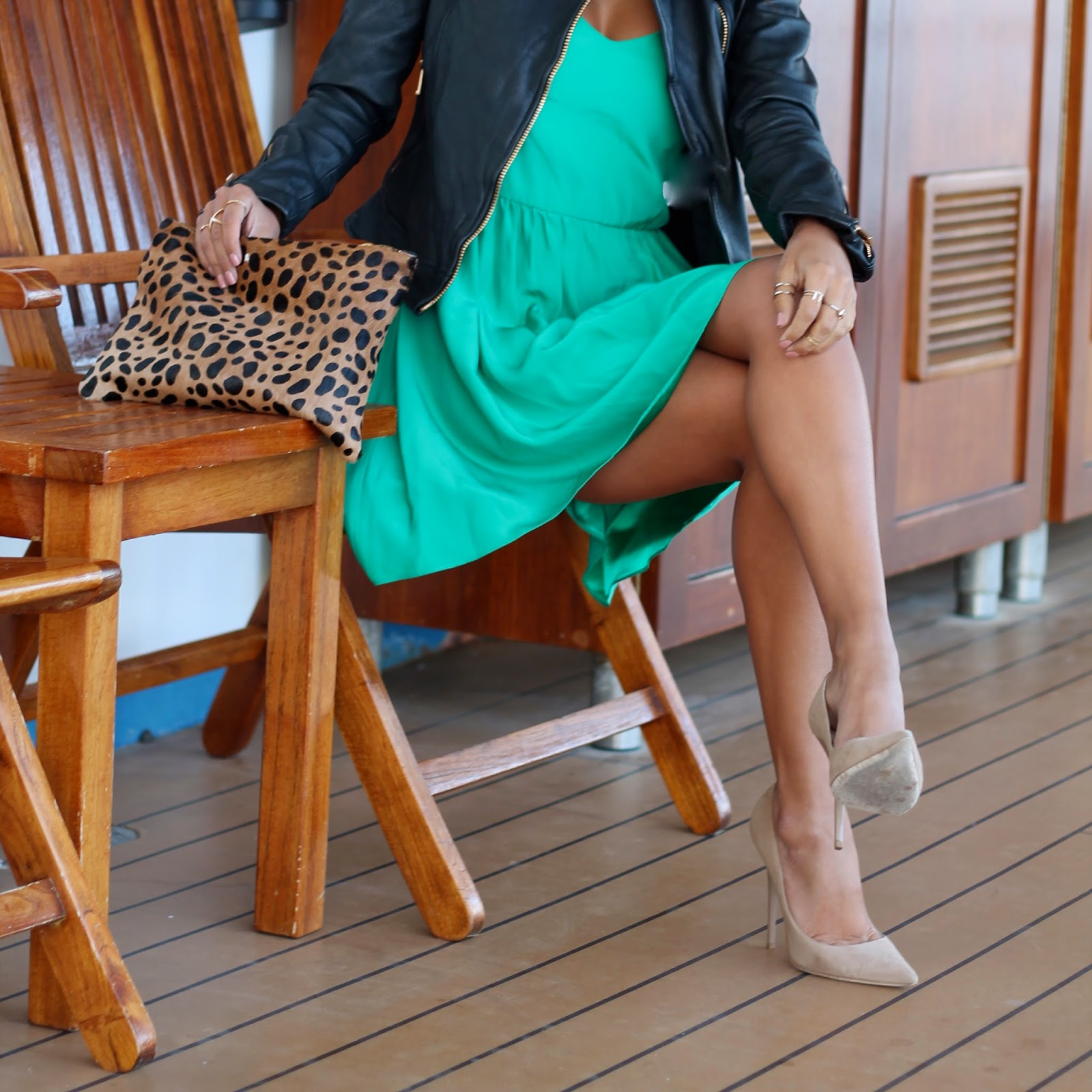 what to wear on a cruise ship, jimmy choo heels, clare vivier clutch, green parker new york dress