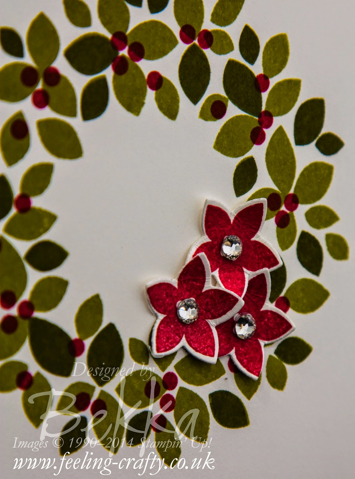 Wondrous Wreath Christmas Card by Stampin' Up! UK Independent Demonstrator Bekka Prideaux - check this blog for lots of great ideas