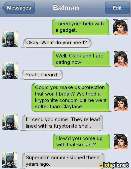 Wonder woman of justice league has requested for something from batman, which was already ordered by superman. comics, Iphone autocorrect texts. Epic superhumans conversations