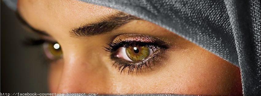 Couverture facebook avec jolis yeux triste