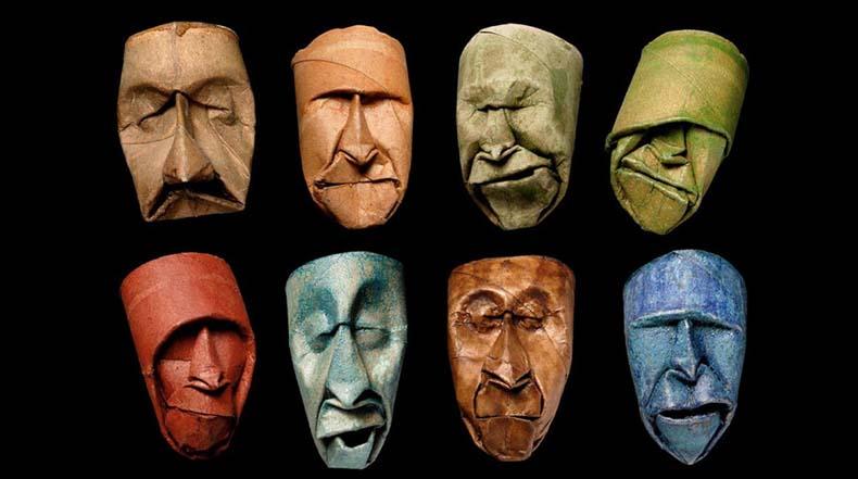 Rollos de papel higiénico transformados en graciosas caras por Junior Fritz Jacquet