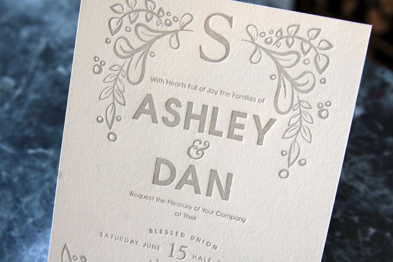 Minneapolis Letterpress: Lilac Letterpress Wedding Invitations