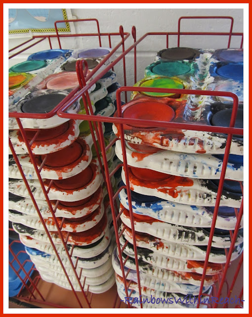 photo of: Art Room Paint Supplies (Art Room RoundUP via RainbowsWithinReach)