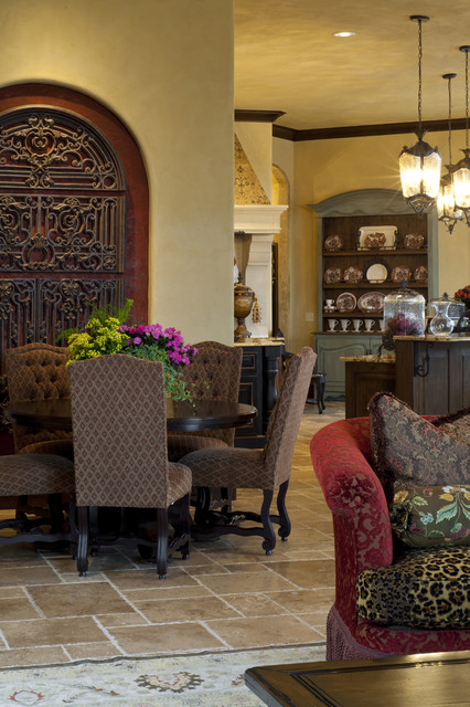 Beautiful Colorful Flowers on the Wooden Dining Room Tables And Chairs in the Traditional Dining Space