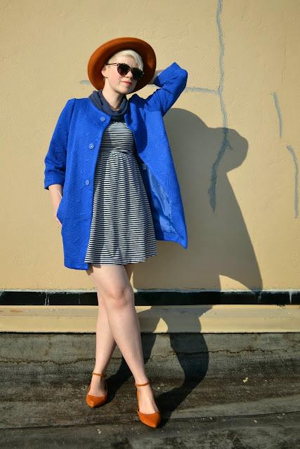 choies, blue, coat, madewell, street style