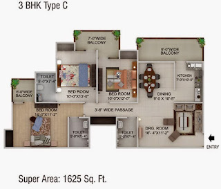 Cape Town :: Floor Plans,3 BHK Type C Super Area - 1625 Sq Ft