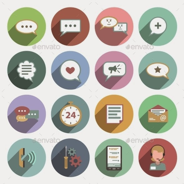 Flat chat icons