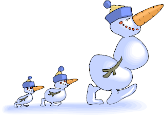 Snowman Family Walking Free Fantasy Clipart