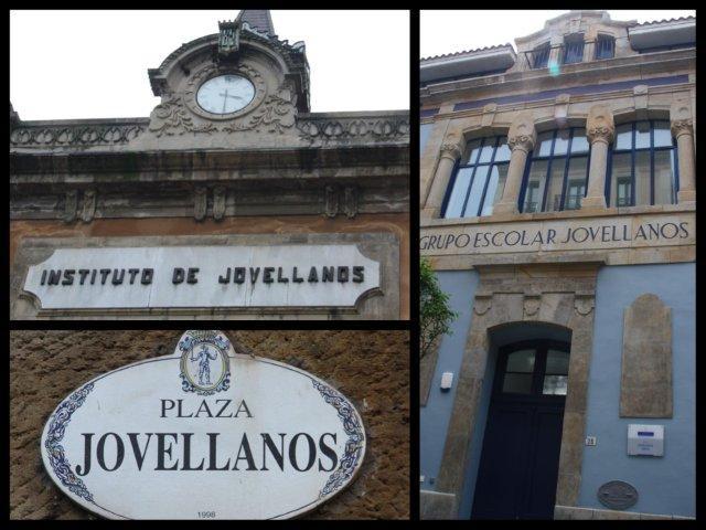 Centro de Cultura Antiguo Instituto de Jovellanos, placa de la Plaza Jovellanos y Colegio Público Jovellanos en Gijon