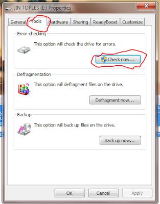 tab Tools error checking