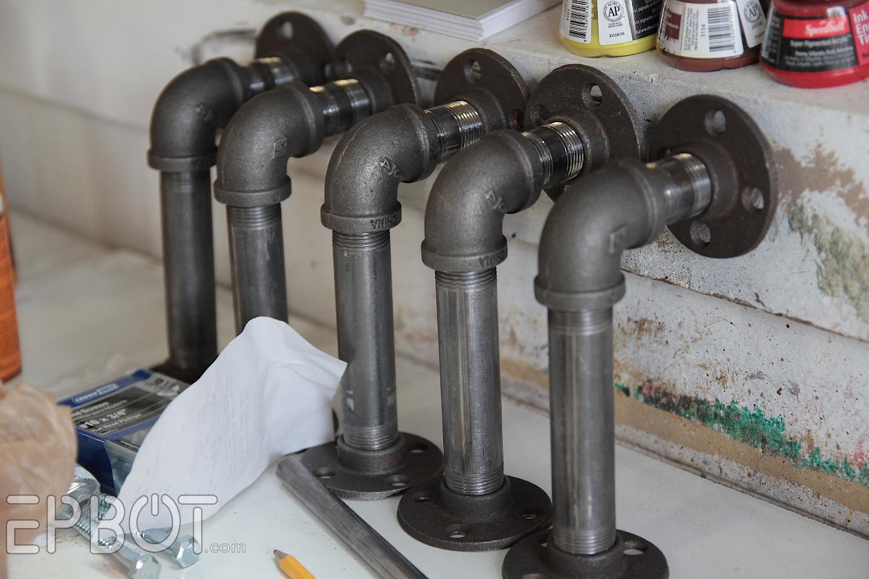 easy diy industrial pipe shelving