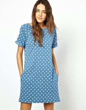 Polka Dot Denim Dress