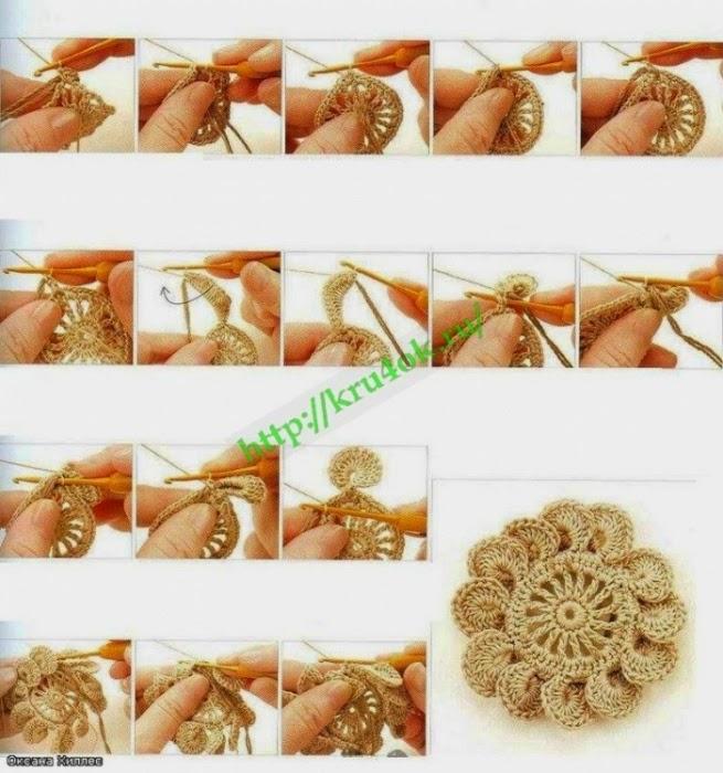 Flor hermosa tejida al crochet con paso a paso en fotos
