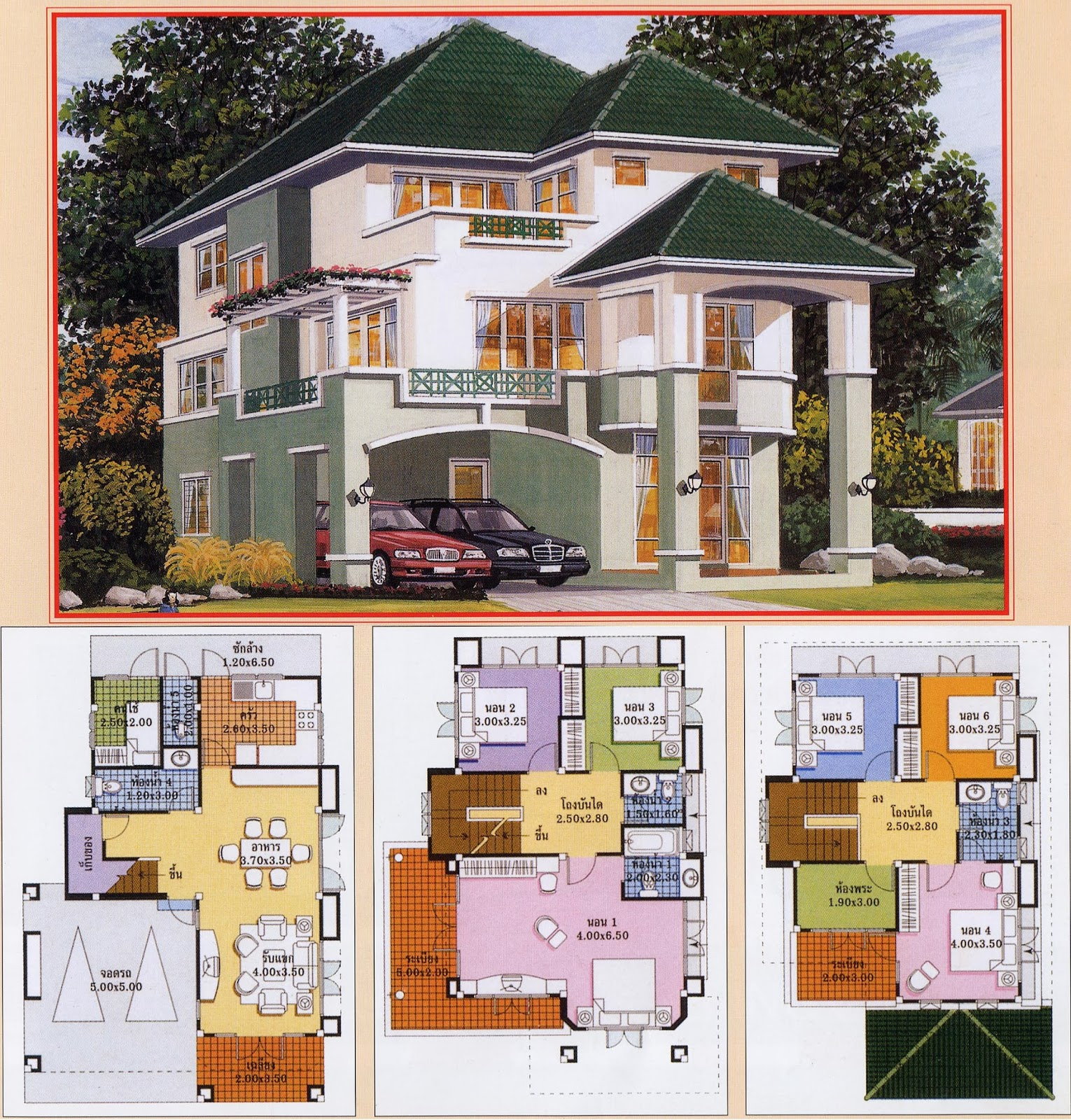 architecture art khmer thai villa house plan