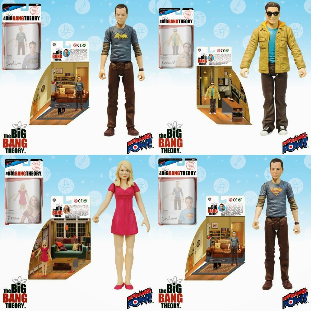 "The Big Bang Theory Series 1 3¾"" Action Figures by Bif Bang Pow! - Vintage Batman T-Shirt Sheldon, Leonard, Penny & Superman T-Shirt Sheldon"