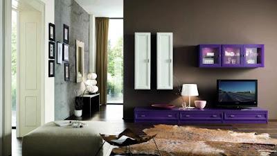 diseño de sala color morado