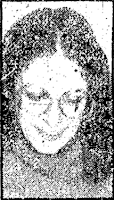 A news clipping photo of a young woman with thick, dark hair parted in the middle and large eyeglasses in the style of the late 1970s