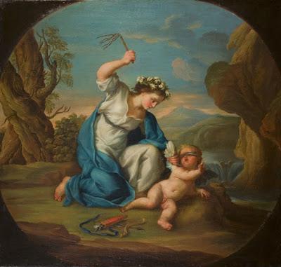 venus castigando al amor profano, escena de flagelacion en una pintura del siglo XVIII