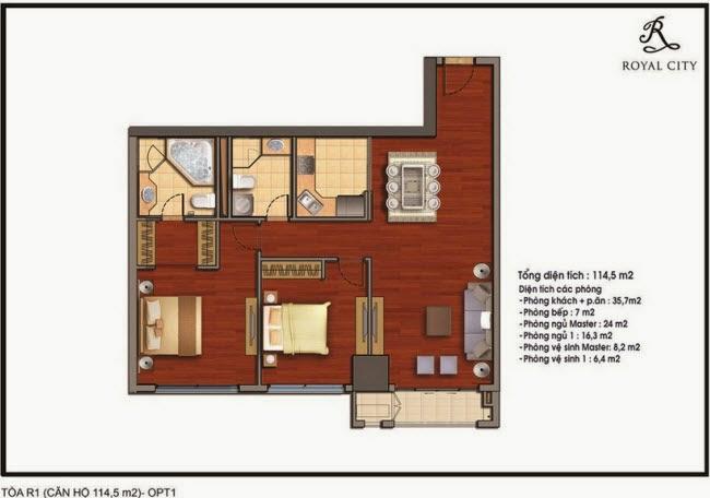 Chi tiết thiết kế căn hộ toà R1 chung cư Royal City diện tích 114.5 m2