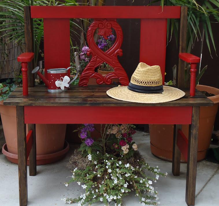 "Garden Bench in ""Barn"" Red - SOLD"