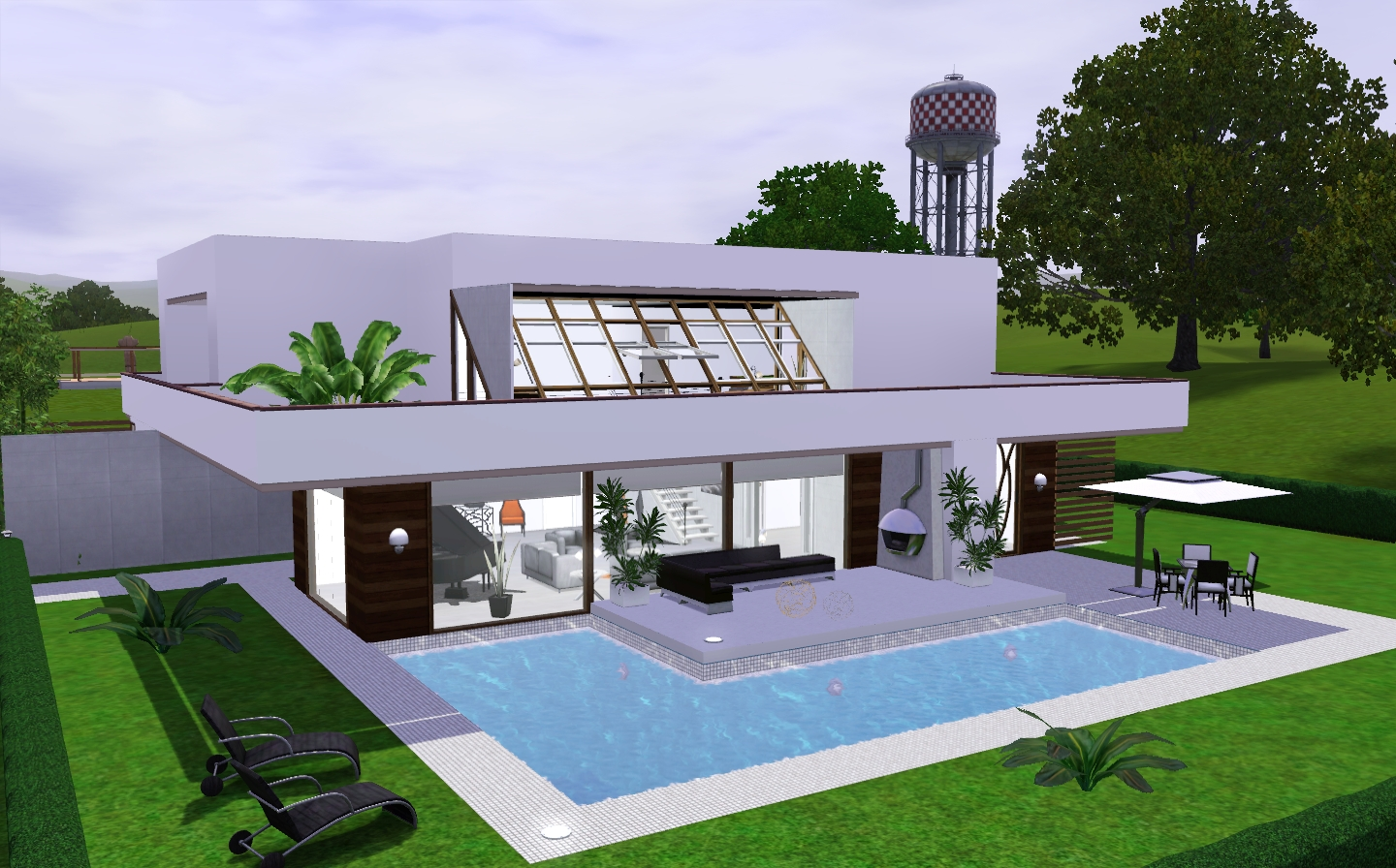 Modern cozy house the sims 3 via sims for Minimalist house sims 2