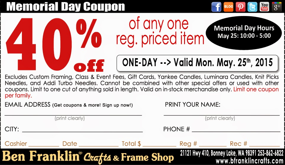 ben franklin crafts and frame shop memorial day coupon On ben franklin craft store coupons