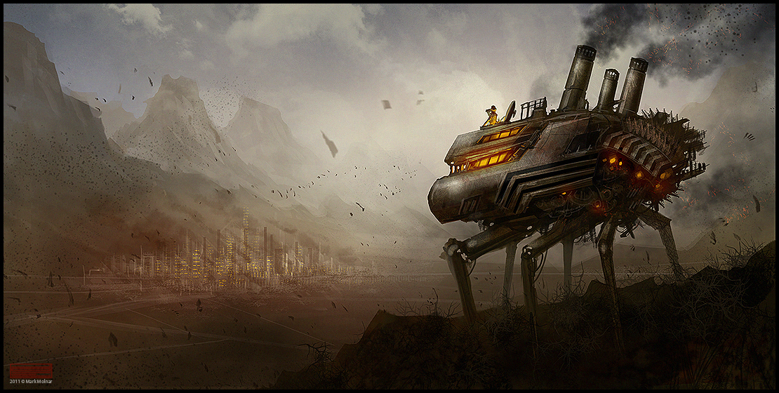 Digital Concept Art by Mark Molnar - Steampunk Walker - Speedpainting