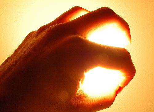 Mãos de luz, poder da mente na mão, iluminação humana