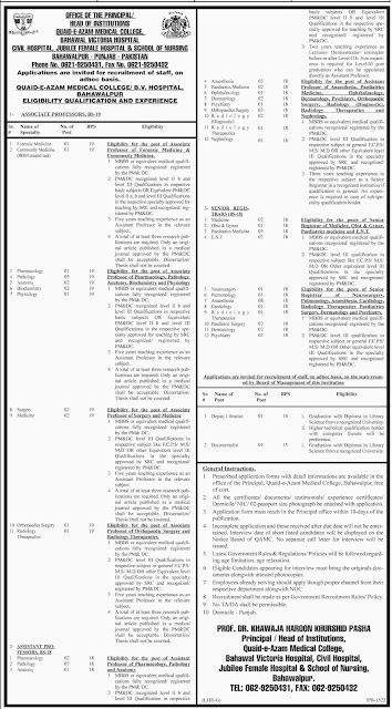Doctors Jobs in Quaid E Azama Medical College & Victoria Hospital