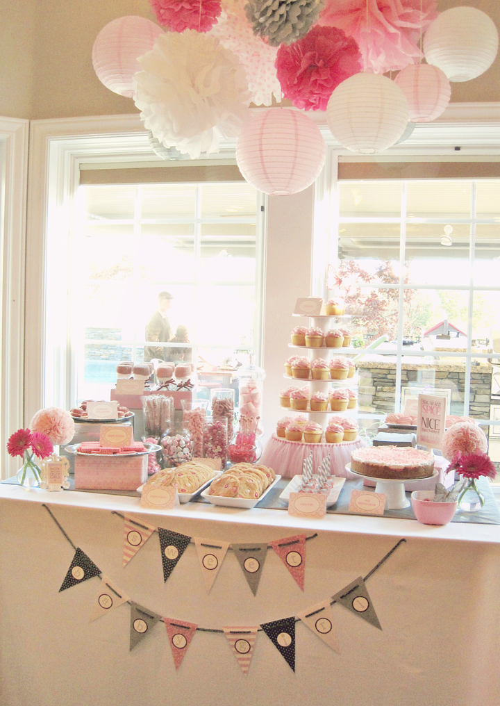 pink and gray baby shower decorations