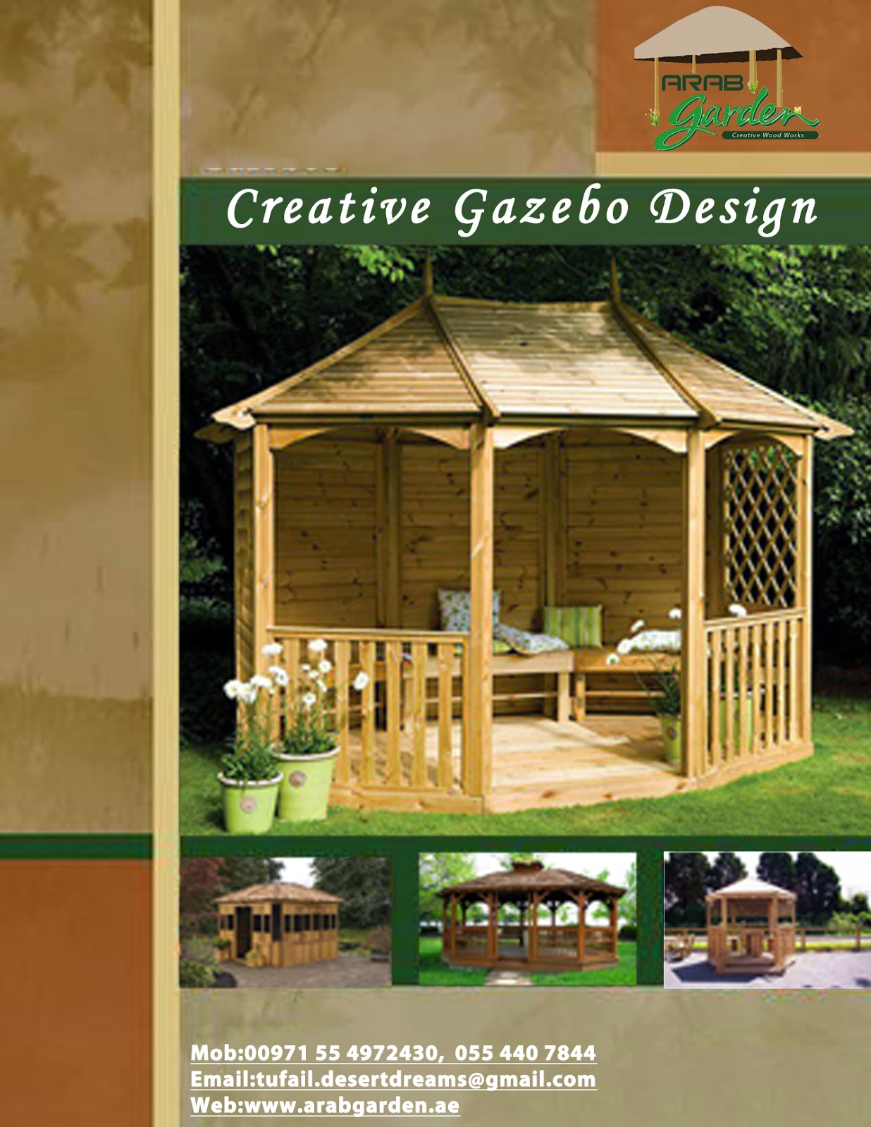 Wooden Roof Thatched Roof Gazebo