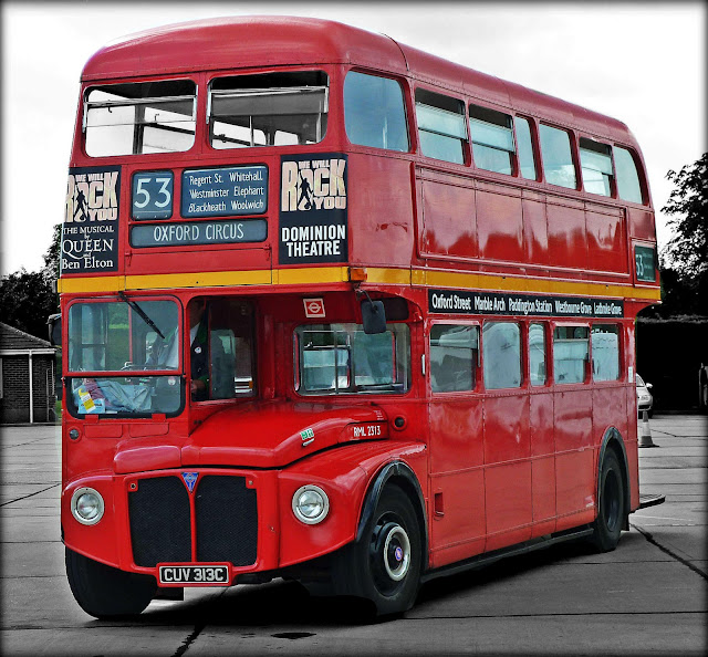 London Bus Black and white with Color Photo