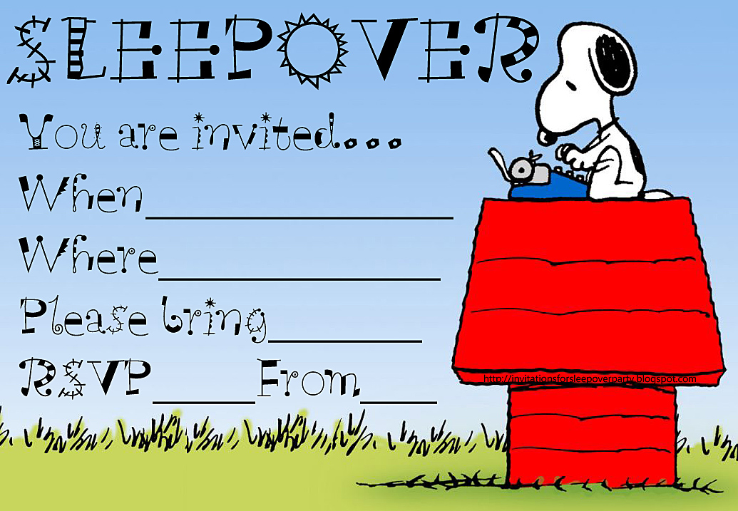 INVITATIONS FOR SLEEPOVER PARTY – Snoopy Party Invitations