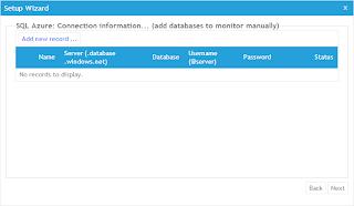 選擇要使用AzureWatch服務的SQL Azure