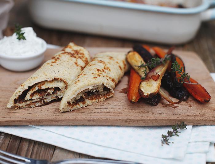 Quinoa Pfannkuchen Wurzelgemüse Karotten Petersilienwurzel