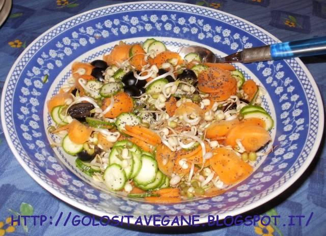 carote, Contorni, crudista, germogli soia, insalata, limoni, olive, raw, Raw Food, ricette vegan, semi papavero, zucchine,