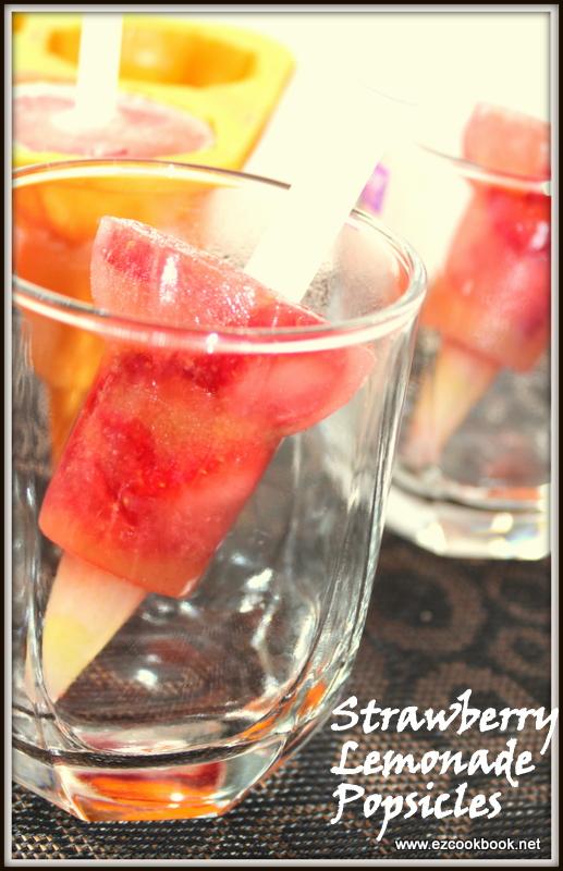 Lemonade Strawberry Popsicles ~ Summer Special Ice Fruit Pops ...