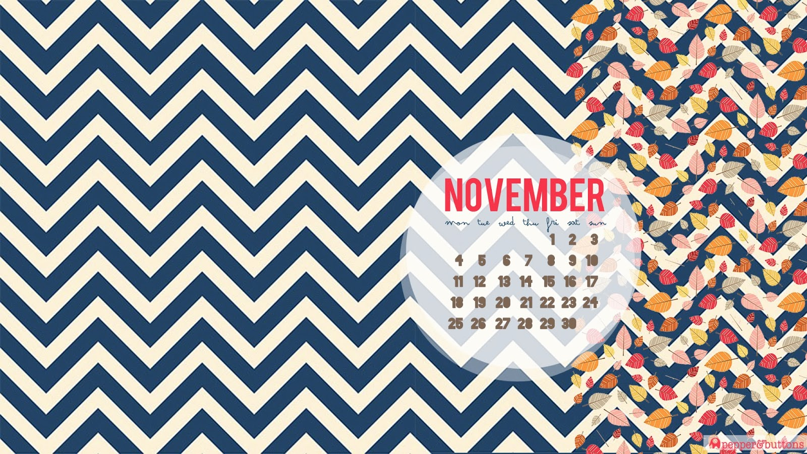 Free Desktop Calendar Wallpaper November : Pepper and buttons november free desktop calendar