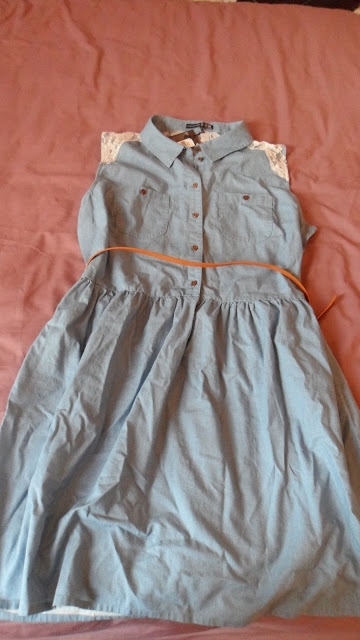 Primark denim shirt dress with lace back