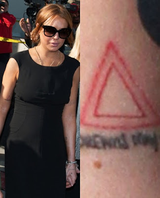 Lindsay Lohan's red triangle tattoo