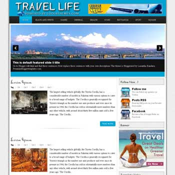 Travel Life blogger template. template blogspot free